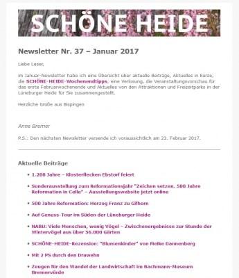 Screenshot SCHÖNE-HEIDE-Newsletter Nr. 37 - Januar 2017