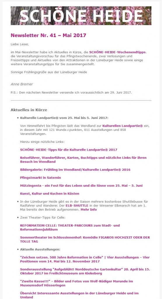 Abonnieren Sie den kostenlosen SCHÖNE-HEIDE-Newsletter und erhalten Sie jeden Monat aktuelle Infos und Veranstaltungs- und Freizeittippsfür die Lüneburger Heide!