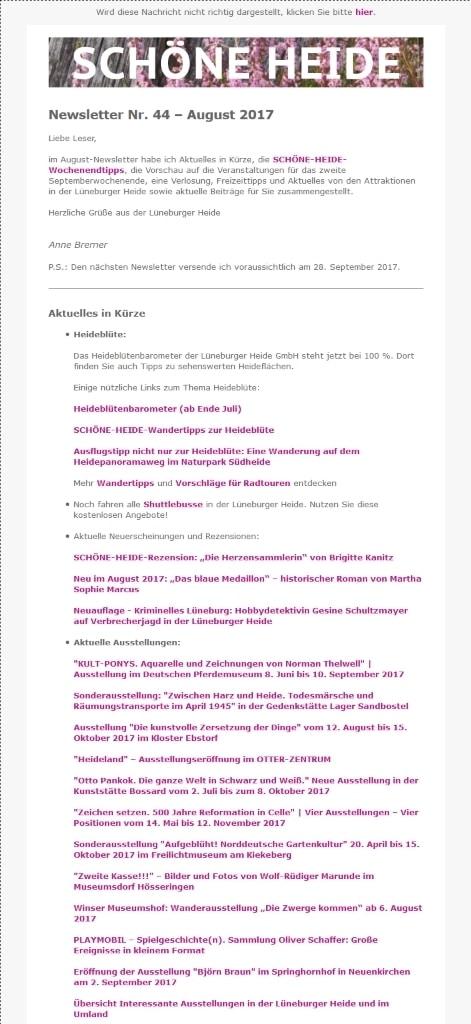 Screenshot - Auszug SCHÖNE-HEIDE-Newsletter Nr. 44 - August 2017