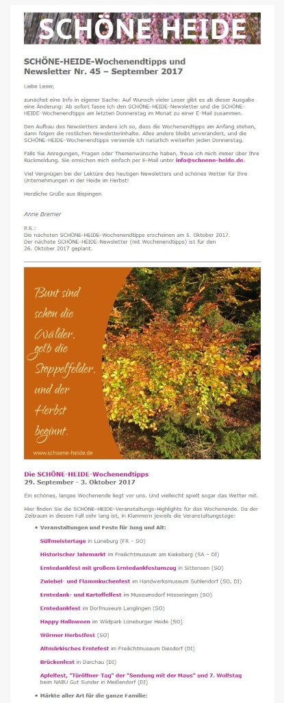Schöne Heide Newsletter Nr 45 September 2017 Wwwschoene Heidede