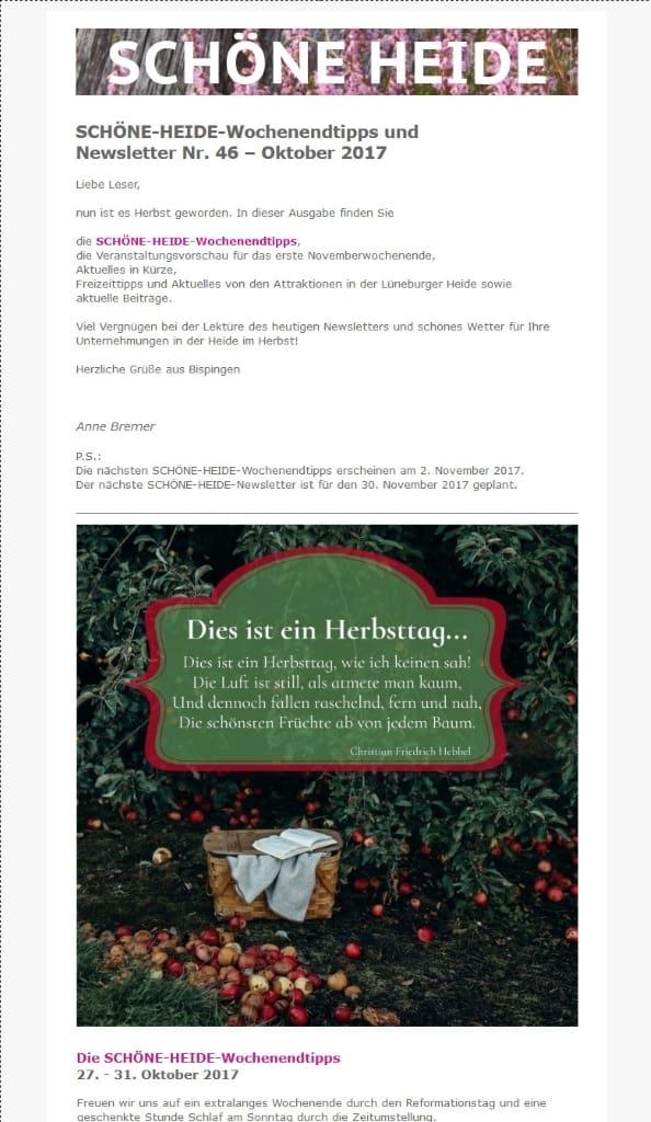Screenshot SCHÖNE-HEIDE-Newsletter und Wochenendtipps Nr. 46 - Oktober 2017