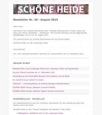 Auszug aus dem SCHÖNE-HEIDE-Newsletter Nr. 20 August 2015