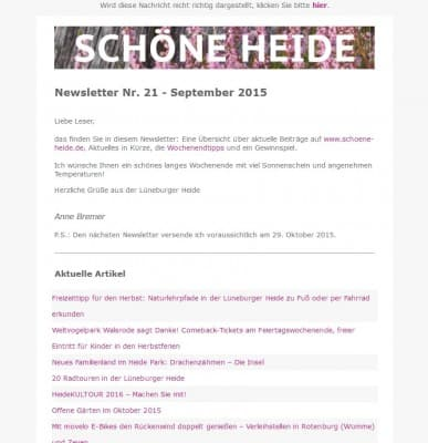 Bild des SCHÖNE-HEIDE-Newsletters Nr. 21 September 2015