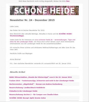 SCHÖNE-HEIDE-Newsletter Nr. 24 - Ausgabe Dezember 2015