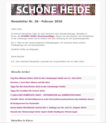 SCHÖNE-HEIDE-Newsletter Nr. 26 - Februar 2016