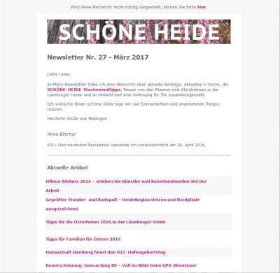 Bildschirmansicht des SCHÖNE-HEIDE-Newsletter Nr. 27, März 2016