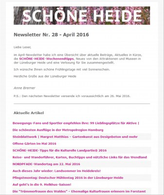 Screenshot des SCHÖNE-HEIDE-Newsletter Nr. 28 - April 2016