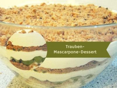 Nachtisch mit Weintrauben, Mascarpone und zerbröselten Schoko-Cookies - SCHÖNE-HEIDE-Rezept