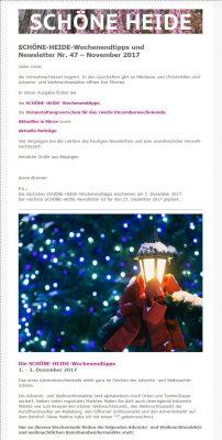 Screenshot SCHÖNE-HEIDE-Wochenendtipps und -Newsletter Nr. 47 November 2017