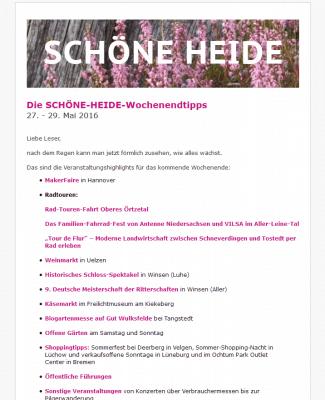 Screenshot SCHÖNE-HEIDE-Wochenendtipps - Wöchentlicher Newsletter