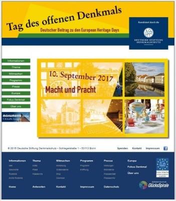 Screenshot der Webseite des Tag des offenen Denkmals www.tag-des-offenen-denkmals.de, Foto: Deutsche Stiftung Denkmalschutz