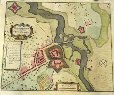 Der Grundriss des Schlosses und des Ortes Bremervörde um 1646 in einem kolorierten Kupferstich von Conrad Anton Mardefeld. © Bachmann-Museum Bremervörde