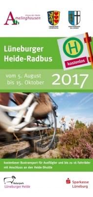 """Titelseite des Flyer """"Lüneburger Heide Radbus 2017"""""""