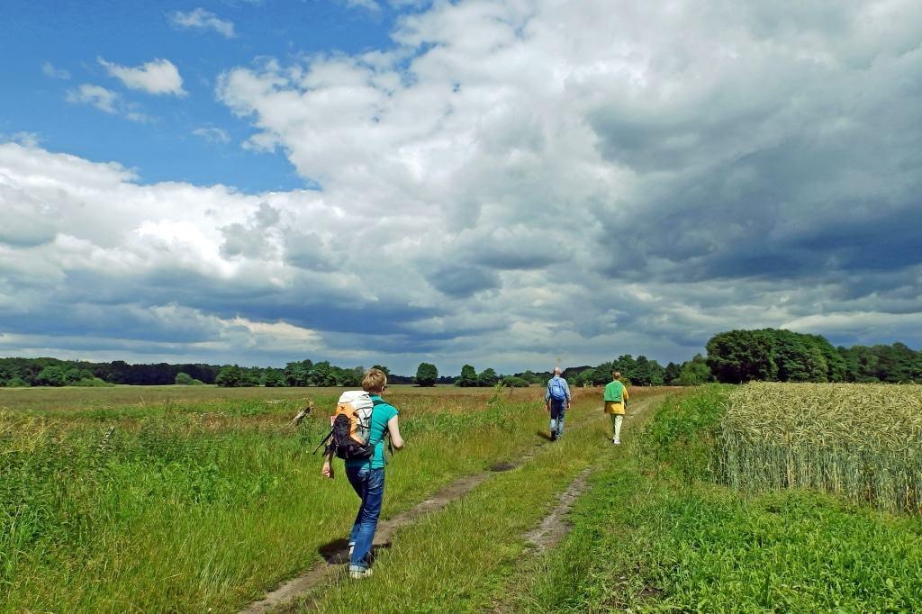 Wanderer genießen die endlose Weite auf den NORDPFADEN © TouROW.de