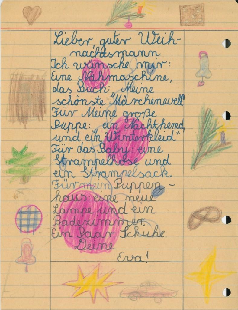 Wunschzettel eines Kindes der Nachkriegszeit Bild: FLMK