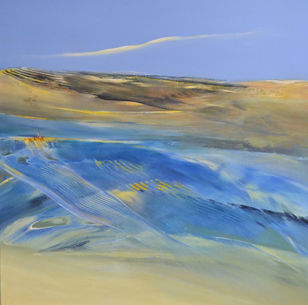 Hinrich JW Schüler, Abstrakte Landschaft IV-2016, 130 cm x 120 cm, Acryl auf Baumwollsegeltuch